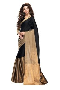 Mahadev Enterprises Black Color Cotton Silk Saree With Unstitched Blouse Pics Pf20