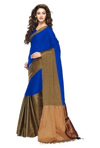 Mahadev Enterprises Blue Color Cotton Silk Saree With Unstitched Blouse Pics Pf21