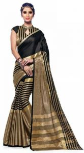 Mahadev Enterprises Black & Grey Cotton Silk Saree With Unstitched Blouse Pics Pf22