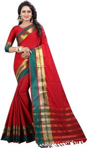 Mahadev Enterprise Red Soft Cotton Silk Weaving Saree With Running Blouse Pics ( Code - Pf291)