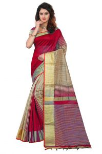 Mahadev Enterpries Red Soft Cotton Silk Saree With Running Blouse ( Code- Pf294 )