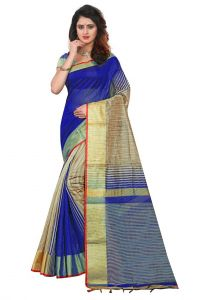 Cotton Sarees - Mahadev Enterpries  Blue Soft Cotton Silk saree With Running Blouse ( CODE- PF296 )