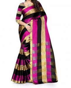 Mahadev Enterpris Pink Color Cotton Silk Saree With Unstitched Blouse Picsmpf31