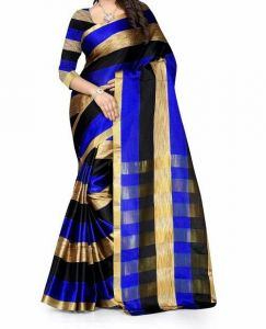 Mahadev Enterpris Blue Color Cotton Silk Saree With Unstitched Blouse Picsmpf32
