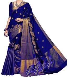 Sarees - Mahadev Enterprises Blue color Cotton Silk Embroidery Work Saree With Unstitched Blouse Pics PF39