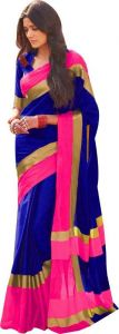 Mahadev Enterprises Blue Color Cotton Saree With Unstitched Blouse Pics Pf46