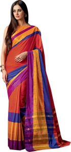 Mahadev Enterprises Orange Color Cotton Saree With Unstitched Blouse Pics Pf47