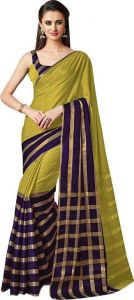 Cotton Sarees - Mahadev Enterprises Olive Color Cotton Saree With Unstitched Blouse Pics PF48