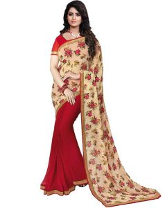 Mahadev Enterprises Red & Cream Color Georgatte Haff-haff Saree With Unstitched Blouse Pics Pf60