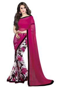 Mahadev Enterprises Red Color Georgatte Haff-haff Saree With Unstitched Blouse Pics Pf64