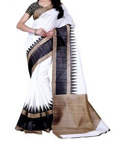 Mahadev Enterprises White Bhagalpuri Saree With Blouse Pf77