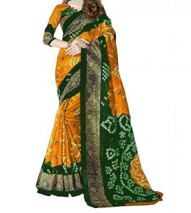 Silk Sarees - Mahadev Enterprises Mustard & Green Bhagalpuri Saree With Blouse PF79