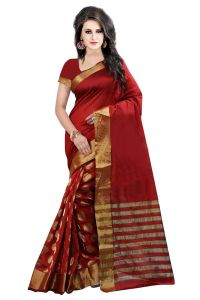 Mahadev Enterprises Red Colour Cotton Jari Embroidered Work Saree With Unstitched Blouse Pics Meg04