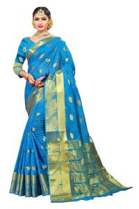 Banarasi Sarees - Mahadev Enterprise Turquoise Banarasi Cotton Silk Saree With Running Blouse Pics ( Code - RJM104)