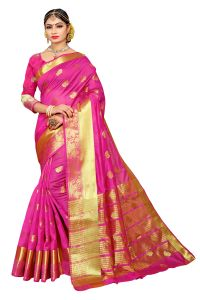 Mahadev Enterprise Light Pink Banarasi Cotton Silk Saree With Running Blouse Pics ( Code - Rjm109)