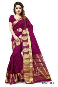 Mahadev Enterprises Wine Color Banarasi Silk Weaving Saree With Blouse Rjm1101b