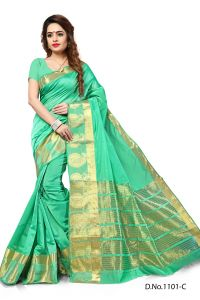 Mahadev Enterprises Light Sea_green Color Banarasi Silk Weaving Saree With Blouse Rjm1101c