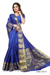 Mahadev Enterprises Blue Color Banarasi Silk Weaving Saree With Blouse Rjm1101e