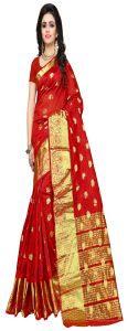 Banarasi Sarees - Mahadev Enterprise Red Banarasi Silk  Weaving Saree With Running Blouse Pics(RJM1102D)