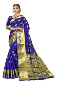 Mahadev Enterprise Blue Banarasi Cotton Silk Saree With Running Blouse Pics ( Code - Rjm110)