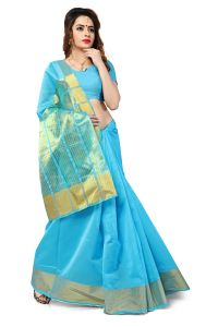 Women's Clothing - Mahadev Enterprise Sky Blue Banarasi Silk Weaving Saree With Running Blouse Pics ( Code - RJM1111A)