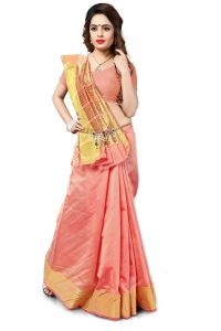 Mahadev Enterprise Peach Banarasi Silk Weaving Saree With Running Blouse Pics ( Code - Rjm1111c)