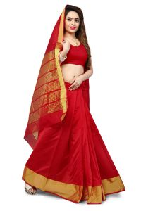 Mahadev Enterprise Red Banarasi Silk Weaving Saree With Running Blouse Pics ( Code - Rjm1111f)