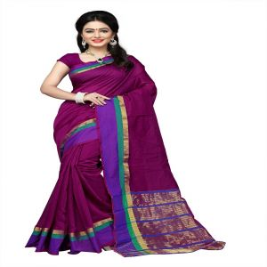 Mahadev Enterprises Maroon Cotton Silk Weaving Saree With Running Blouse Pics ( Code - Rjm1128a )