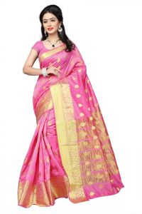 Mahadev Enterprises Light_Pink Cotton Jacquard Butty Saree With Blouse RJM1129D