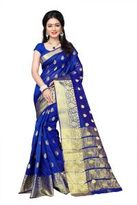 Mahadev Enterprises Blue Cotton Jacquard Butty Saree With Blouse Rjm1129h