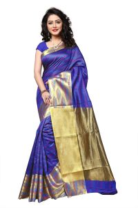 Mahadev Enterprise Blue Banarasi Cotton Silk Saree With Running Blouse Pics ( Code - Rjm1133a)