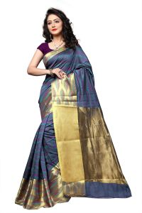 Mahadev Enterprise Multi Coloured Banarasi Cotton Silk Saree With Running Blouse Pics ( Code - Rjm1133c)