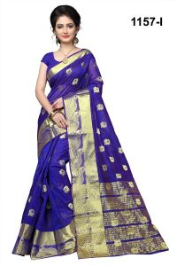 Mahadev Enterprises Blue Cotton Silk Saree With Blouse Pics ( Code Rjm1157i )
