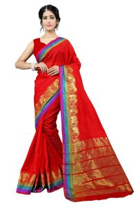 Mahadev Enterprise Red Cotton Silk Weaving Saree With Running Blouse Pics ( Code - Rjm1166a)