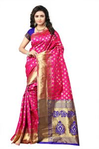Mahadev Enterprise Pink Lichi Silk Top Dyeal Weaving Saree With Running Blouse Pics ( Code - Rjm1177d)