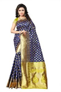 Mahadev Enterprise Blue Lichi Silk Top Dyeal Weaving Saree With Running Blouse Pics ( Code - Rjm1177f)