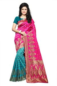 Mahadev Enterprise Pink Lichi Top Dyeal Weaving Saree With Running Blouse Pics ( Code - Rjm1181b)