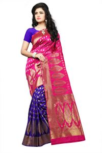 Mahadev Enterprise Pink Lichi Top Dyeal Weaving Saree With Running Blouse Pics ( Code - Rjm1181e)