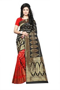 Mahadev Enterprise Black Lichi Top Dyeal Weaving Saree With Running Blouse Pics ( Code - Rjm1181g)