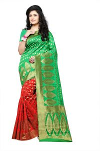 Mahadev Enterprise Perot Green Lichi Top Dyeal Weaving Saree With Running Blouse Pics ( Code - Rjm1181h)
