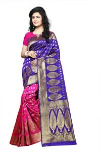 Mahadev Enterprise Purple Lichi Top Dyeal Weaving Saree With Running Blouse Pics ( Code - Rjm1181j)
