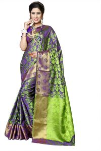 Mahadev Enterprises Baise Purple Silk Weaving Saree With Running Blouse Pics ( Code - Rjm1204b )