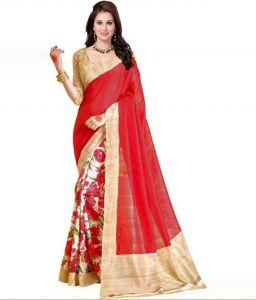 Mahadev Enterprises Beige & Red Color Bhagalpuri Cotton Silk Saree With Unstitched Blouse Pics Ssc4926
