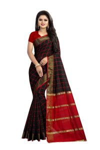 Mahadev Enterprise Black Cotton Chex Saree With Running Blouse Pic ( Code - Vtr34 )