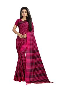 Mahadev Enterprise Pink Checks Cotton Weaving Saree With Running Blouse Pics ( Code - Vtr37)