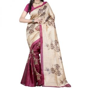 Mahadev Enterprises Beige & Magenta Color Bhagalpuri Cotton Silk Saree With Unstitched Blouse Pics Ssc80