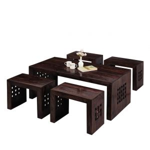 Inhouz Sheesham Wood Zig Zag Coffee Table (walnut Finish)