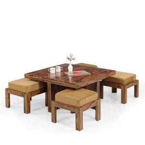 Inhouz Sheesham Wood Square Coffee Table Set (Teak Finish)