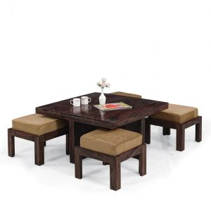 Inhouz Sheesham Wood Square Coffee Table Set (walnut Finish)
