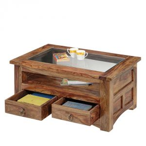 Inhouz Sheesham Wood Georgia Coffee Table (Teak Finish)